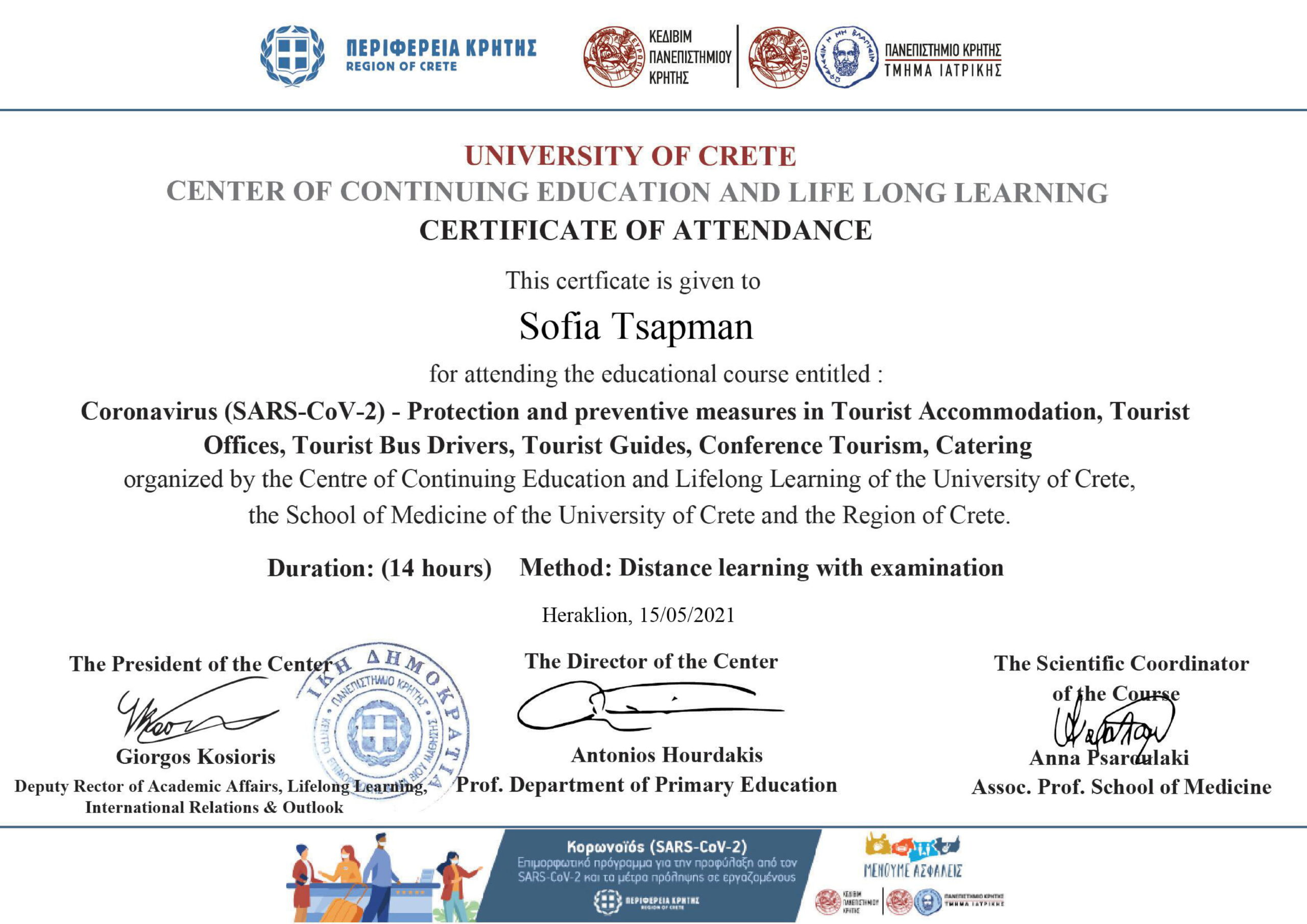 Covid-19 training certificate2021